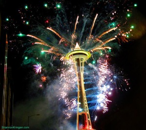 The Space Needle hosts fireworks to see in the New Year